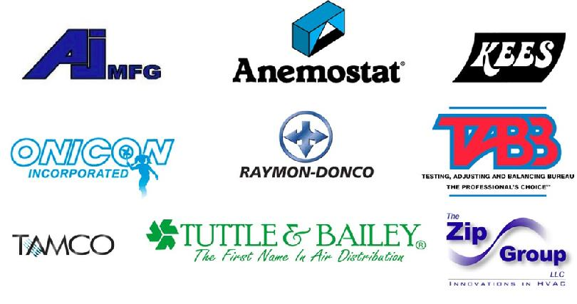 products we represent: AJ Manufacturing, Anemostat, KEES, Onicon, Raymon-Donco, TABB, Tamco, Tuttle & Bailey, Zip Group